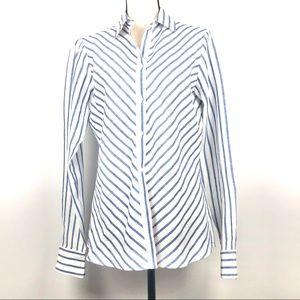 Women's Loro Piana 100%  Linen Striped Shirt Sz 46